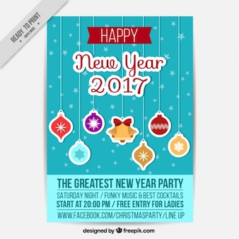 New year brochure with baubles