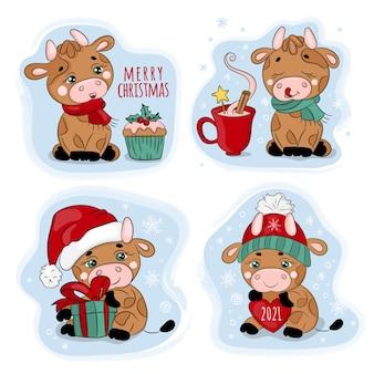 New year bull merry christmas cartoon set