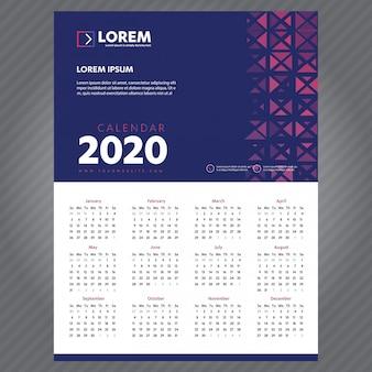 New year calendar 2020 template
