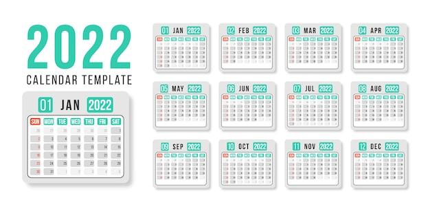 New year calendar 2022