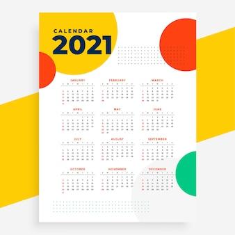 Calendario del nuovo anno in stile cerchi