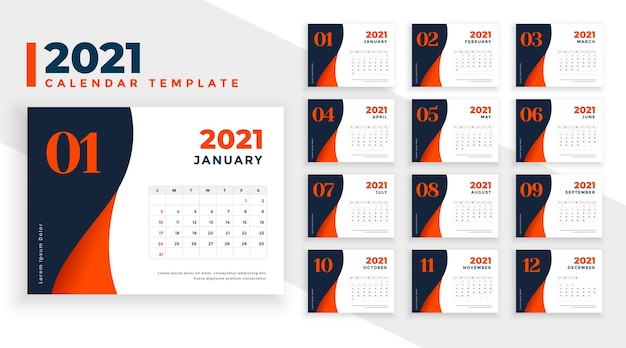 New year  calendar template  in modern style