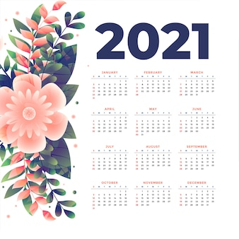 New year calendar template with flower decoration