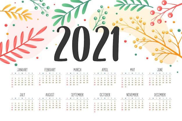 New year calendar with flower decoration