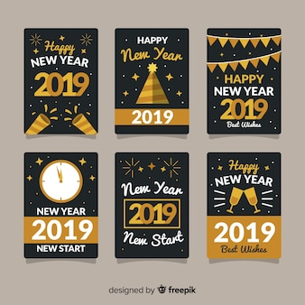 New year card collection with golden style