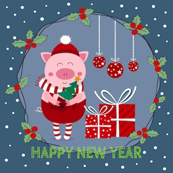 New year card elf piglet pig  and mistletoe wreath