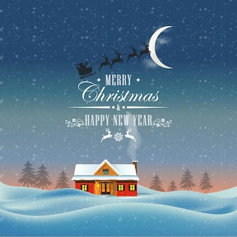 New year card. santa claus is flying in a sleigh