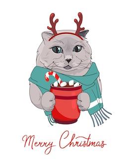 鹿の角の猫とマシュマロとココアのグラスと年賀状