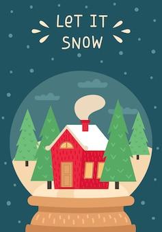 Новогодняя открытка со стеклянным шаром с рождественским домиком и елками.