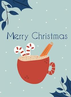 따뜻한 음료 한 잔과 함께 새 해 카드입니다. 크리스마스 초대장 템플릿입니다. 벡터 손으로 그린 그림