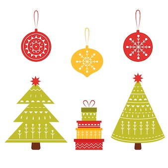 New year card with christmas tree toys and gifts