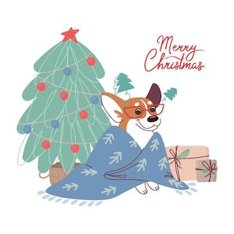 Новогодняя открытка с собакой корги возле елки