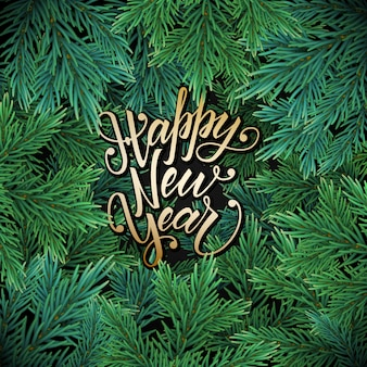 New year card with a green garland of christmas tree branches with decorations and lettering