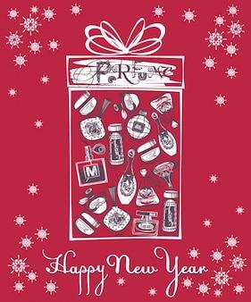 Scheda di nuovo anno con le bottiglie di profumo