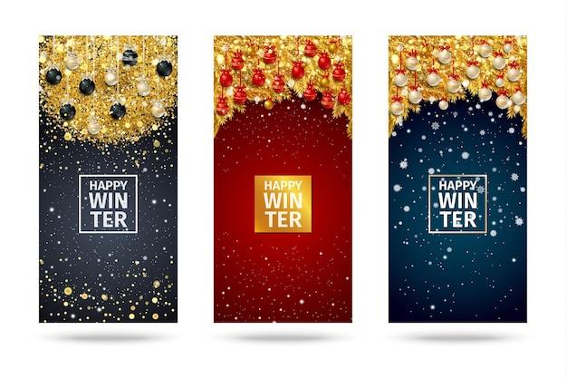 전나무 가지, 황금 색종이 조각, 크리스마스 공, 눈송이가 있는 새해 카드. 벡터 일러스트 레이 션.