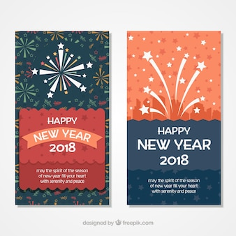 New year cards with fireworks