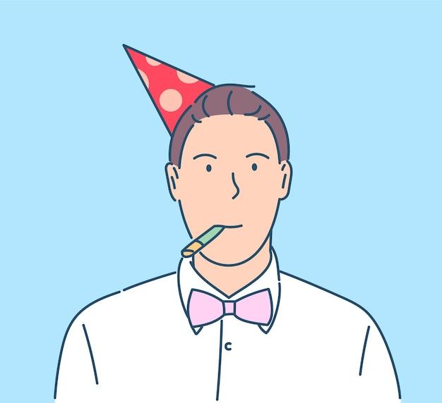 新年のお祝いのコンセプト。パーティーで帽子をかぶった男を祝う幸せな笑顔の大晦日。
