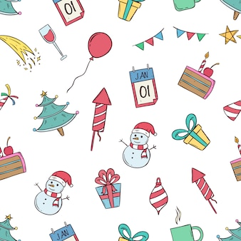 New year celebration icons in seamless pattern with colored doodle style