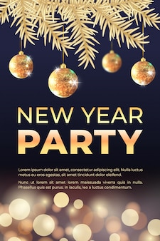 New year celebration party banner with golden christmas tree, balls and bokeh lights.