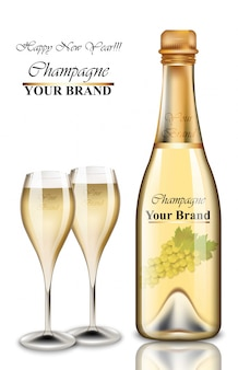 New year champagne bottle and glasses card.
