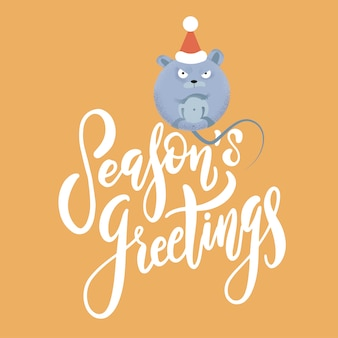 New year and christmas background with rat - symbol of the year. holiday text season's greetings