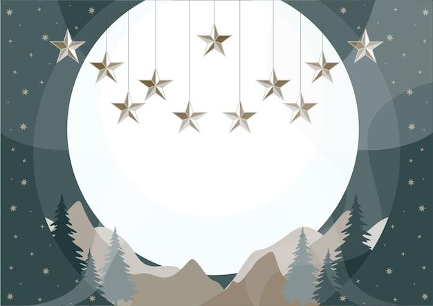 별 침엽수 림과 산 풍경과 함께 새 해 크리스마스 배경