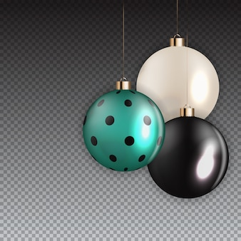New year and christmas ball on transparent background. vector illustration