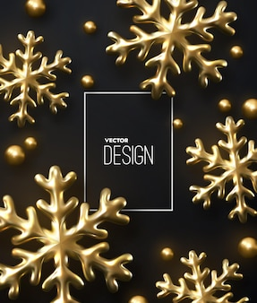 New year or christmas banner template of shimmering golden snowflakes and beads on black background