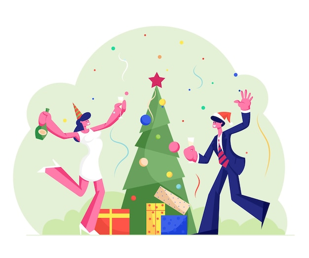 New year or christmas celebration at work with champagne, cartoon flat illustration