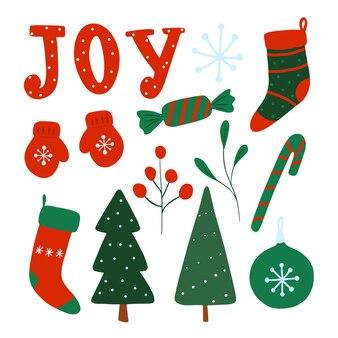 New year christmas clip art set isolated on white vector winter holidays flatdesign elements