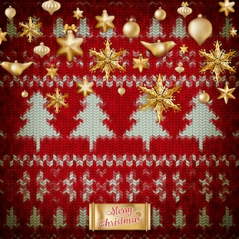 New year christmas decoration. christmas template against knitted background. illustration for new years day, christmas, winter holiday, new years eve, silvester, etc.   file included