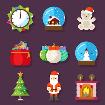 New year and christmas flat design icons. fireplace with sock, clock and teddy bear, toy and santa claus. vector illustration