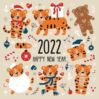 New year and christmas funny tiger cubs set in santa claus costumes in cartoon style