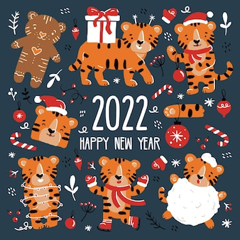 New year and christmas funny tigers set in santa claus costumes in cartoon style