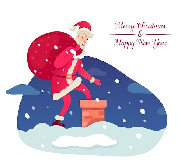 새 해, 크리스마스 휴일 요소, 집 지붕 만화 캐릭터에 산타 클로스.