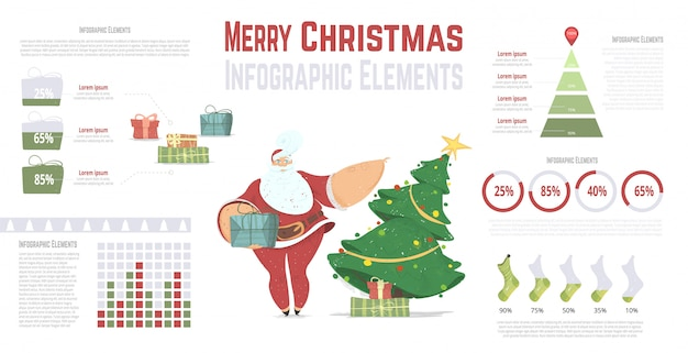 New year and christmas infographics set with santa