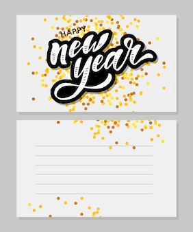 New year christmas lettering calligraphy brush text holiday sticker gold illustration