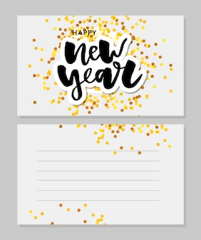 New year christmas lettering calligraphy postcard greeting card