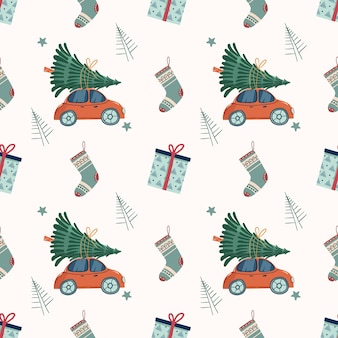 New year and christmas pattern seamless pattern with retro red car with christmas tree