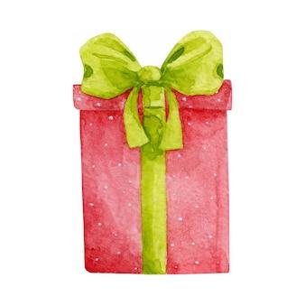 新年、クリスマスプレゼントボックスは白で隔離。ギフトベクトルクリップアート。赤と緑のプレゼントボックスのイラスト..休日のデザイン要素。