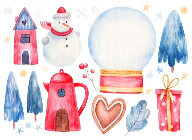 New year and christmas set, houses, snowman, stars, snow globe with snow, blue christmas trees, icing cookies, leaves, berries.