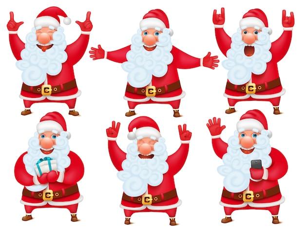 New year christmas set of santa claus cartoon character.
