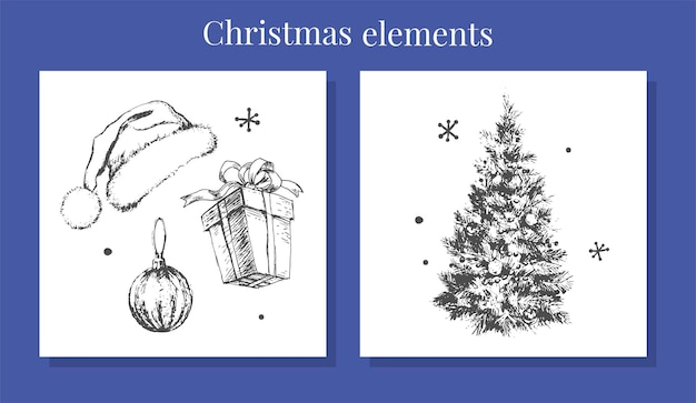 New year and christmas set sketch illustration