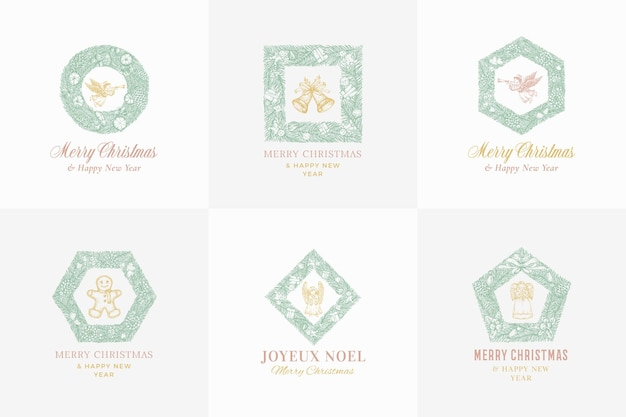New year and christmas sketch pine wreath signs banners or logo template