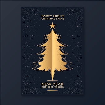 New year christmas tree party poster template in outline style