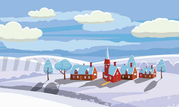 New year and christmas winter landscape background. countryside, rural. vector illustration. cartoon style