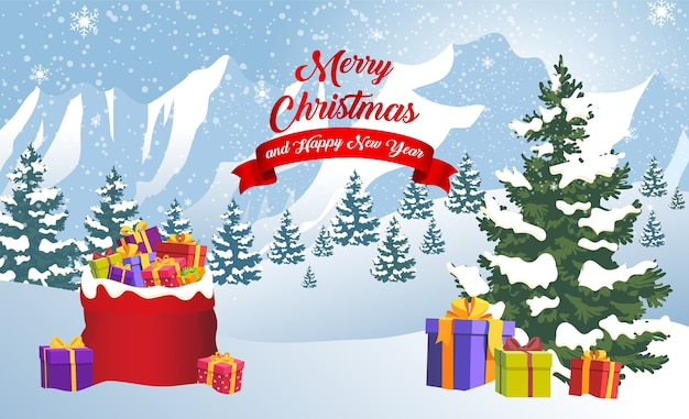 New year and christmas winter landscape background