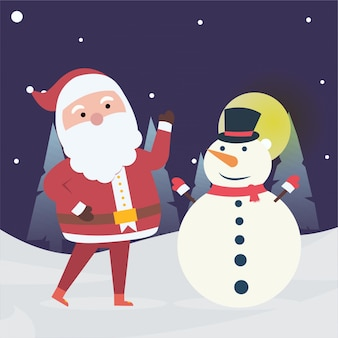 New year and christmas winter with santa claus and snowman