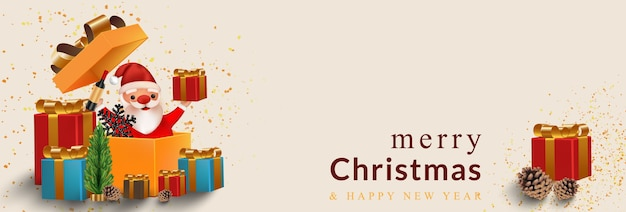 New year and christmas  with open gift box and surprise funny santa claus, for holiday banner, poster, flyer, stylish brochure, and greeting card