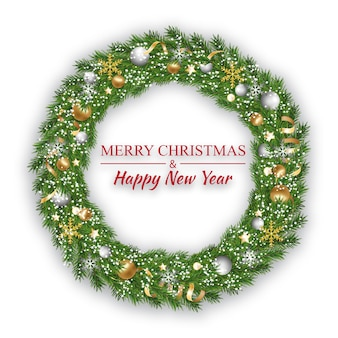 New year and christmas wreath, winter garland on white background. Premium Vector